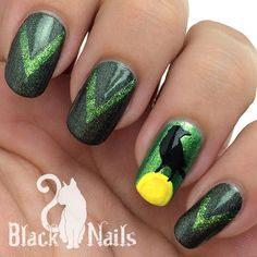 """Limited Edition stencil set """"I Know You"""" from Sticky Nails and Pretty Jelly. Diablo the raven from Sleeping Beauty. Gray holo and green glitter polish for Halloween."""