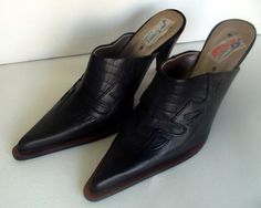 Calzados  stiletto mule black leather cowboy  shoes Chile  well made Ex cond.  9 #calzadoszankos #Stilettos #Casual