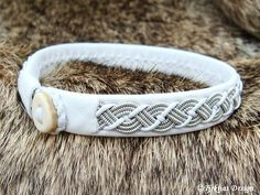 White Reindeer Leather Sami Bracelet VALHAL Handmade Viking Jewelry