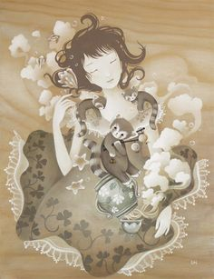 """""""Sleeping Smoke"""" by Amy Sol, edition of 300 on Giclée on Archival Hahnemühle Pape Amy Sol, Mother Art, Beauty Illustration, Pop Surrealism, Illustrations, American Artists, Female Art, Watercolor Art, Fantasy Art"""