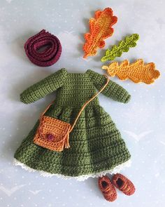 Crochet doll dress hat purse outfit