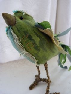 bird soft sculpture textile fiber art in by cornishcontemporary, £27.00