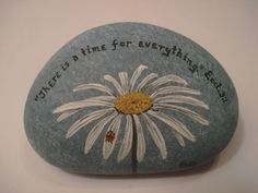 Daisy and Ladybug with Scripture Bible Verse hand painted on a stone. Pebble Painting, Tole Painting, Pebble Art, Stone Crafts, Rock Crafts, Hand Painted Rocks, Painted Stones, Rock And Pebbles, Rock Painting Designs