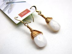 Handmade Gold Wire Wrapped Mother of Pearl by GeminiDragonfly, $20.00