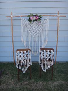 The Jane Macrame Chair Backs Beautiful Wedding Chair Backs image 7 Cake Table Backdrop, Ceremony Backdrop, Boho Backdrop, Craft Wedding, Wedding Decorations, Macrame Chairs, Macrame Projects, Chair Backs, Macrame Patterns