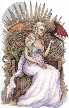 Daenerys Targaryen / Khaleesi Game of Thrones commission by Siya Oum, in Peter (t.)'s Siya Oum Comic Art Gallery Room Daenerys Targaryen Art, Game Of Throne Daenerys, Khaleesi, Got Dragons, Mother Of Dragons, Arte Game Of Thrones, My Champion, My Sun And Stars, Winter Is Coming