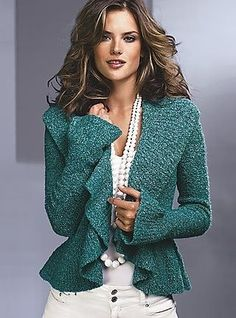 teal jacket+pearls. by judith