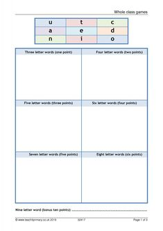 A whole class word game, ideal for the end of term. Includes five tips for whole class games with activities across the school from Reception to year Six Letter Words, End Of Term, Reading Words, Class Games, Year 6, Word Games, Teaching Ideas, Lettering, School