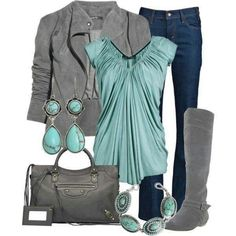 Love the color combo, boots, shirt, jacket...okay, all of it.
