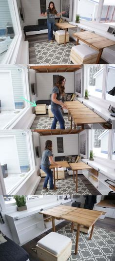The doors to hide storage slide and fold up (with pop down legs) to make a workbench, which can be unhooked and placed onto the other bench for the main dining table. the seats are found on the underside of the coffee table lids.