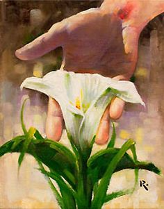 Consider the Lilies, pointing. Art by the great Christian artist: Ron Dicianni.