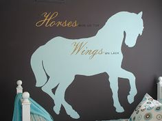 Horse silhouette for little girls room.  The Yellow Cape Cod: 31 Days of Character Building: Easy Silhouette Mural Tutorial