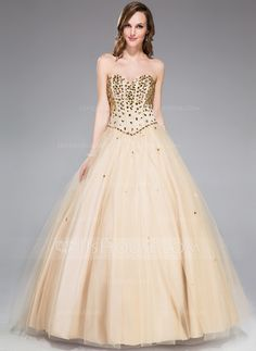 Ball-Gown Sweetheart Floor-Length Satin Tulle Prom Dress With Beading (018047244)