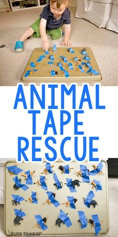 Animal Tape Rescue Activity - Busy Toddler : Animal Tape Rescue Activity Need to entertain a taby? Try this easy tape rescue activity! A quick and easy toddler activity and a great baby activity to try! Motor Skills Activities, Toddler Learning Activities, Infant Activities, Shape Activities, Toddler Activities For Daycare, Animal Activities For Kids, Nursery Activities, Fine Motor Skills, Activities For 2 Year Olds Daycare
