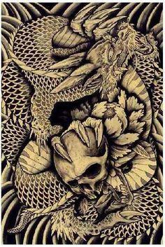 Dragon & Skull by Clark NorthTattoo Art Print Japanese Asian Traditional