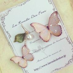 てふてふ様オーダー分となります。蝶の色はブルー金具はイヤリングにてお作り致します。|ハンドメイド、手作り、手仕事品の通販・販売・購入ならCreema。
