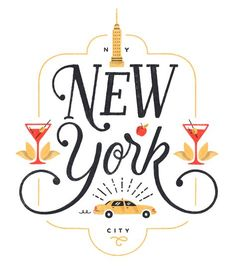 Designer | Unknown The letterforms fit well within the illustration. nice, fitting font choice for NY and City.