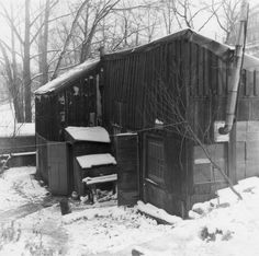 Thomson's shack, behind the Studio Building at 25 Severn Street, c. where he lived and painted during the last three winters of his life. Wooden Shack, Tom Thomson Paintings, Group Of Seven, Canada, Canadian Artists, Online Art, Book Art, House Styles, Gallery