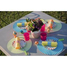 Set de table rayé rond turquoise 34 cm les 6