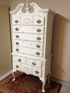 Antique white chalk paint gave this vintage Queen Anne Highboy new life!