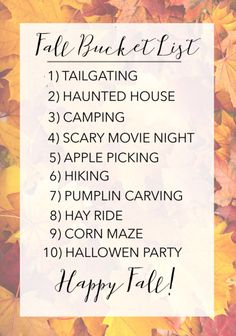 Fall Bucket List Blog