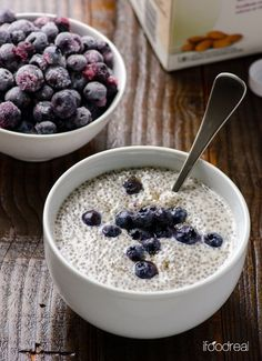 Vanilla chia pudding  Add own personal flair by adding favorite fruit & toppings.  3/4 cup almond milk, unsweetened (vanilla)  2-3 tsps maple syrup or honey 1 tsp pure vanilla extract 3-4 tablespoons chia seeds.  Nuts, berries, fruit, coconut flakes for topping. /Add all ingredients (except toppings) to any container w/ a tight lid. Shake or stir container. Refrigerate for at least six hours or overnight. When ready to eat, stir & top w/ favorite toppings.