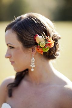 Fall Flowers In Brides Hair