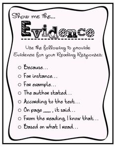 Sentence starters for showing evidence in reading response journals.
