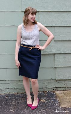 date night look with pencil skirt and lace top | www.shealennon.com