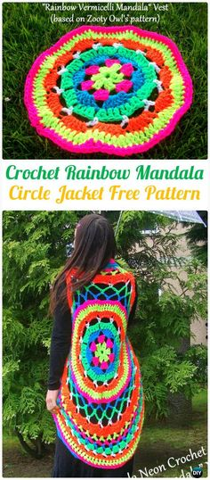 Crochet Circle Jacket, Crochet Circular Vest + Sweater Jacket +Top+Coat Free Patterns: Crochet Bohemian Style Sweater Coat and Vest for ladies and girls. Crochet Circle Vest, Crochet Kids Scarf, Gilet Crochet, Crochet Headband Pattern, Crochet Circles, Crochet Jacket, Crochet Mandala, Crochet Shawl, Diy Crochet