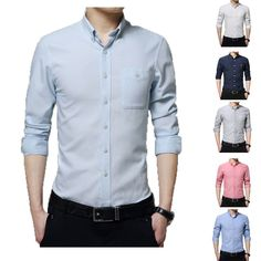 - Type: Long sleeve dress shirts - Age Group: Adults, Teens - Material: Polyester, Cotton - Colors: 6 (see photos) - Sizes: 7 - Gender: Men - Style: Dress, business shirts - Design: Solid Color - Feature: Anti-Shrink/Pilling Business Shirts, Branded Shirts, Business Casual, Long Sleeve Shirt Dress, Long Sleeve Shirts, Dress Shirts, Mens Long Shorts, Casual Shirts For Men, Men Casual