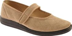 Foamtreads Women's Shoes in Beige Color. This slipper is made in a Mary Jane design. It features a self closure strap, soft durable upper and non marking rubber outsole for traction.