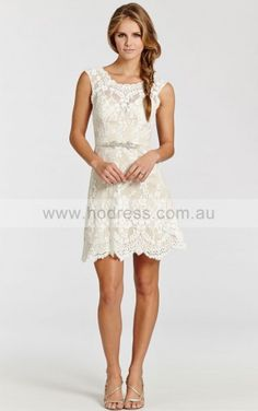 Zipper Short A-line Natural Sweetheart,Scoop Wedding Dresses hvdf1001--Hodress