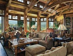 european cabin decor | that furniture does not need to be leather to look great in a lodge ...