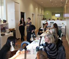 Guests getting manicures at the Candy O event