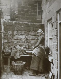 Fisherwomen's clothing c. 1880-85 in Runswick Bay.