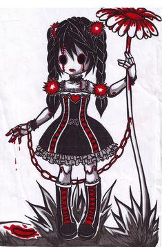 Image du Blog galeriegothik.centerblog.net Anime Chibi, Manga Anime, Anime Art, Emo Art, Goth Art, Gothic Drawings, Art Drawings, Creepy Drawings, Dark Art Illustrations