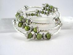 2 strand memory wire bracelet | ... Strand Olive Green Memory Wire Bracelet by AllTwisted on Etsy, $12.00