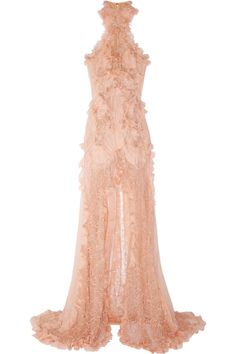 Alexander Mcqueen Ruffled Bead Embellished Chiffon and Lace Gown in Pink | Lyst