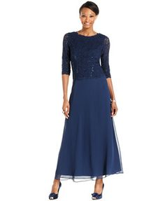 Alex Evenings Elbow-Sleeve Sequined Lace Gown | Very nice! Besides Navy, it also comes in Champagne.