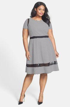 ABS by Allen Schwartz - Mesh Inset Stripe Fit & Flare Dress