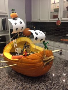 The Pumpkin Pirate Ship we made last year after seeing a few on Pinterest. Pirate Halloween Party, Halloween Party Themes, Diy Halloween Decorations, Holidays Halloween, Scary Halloween, Halloween Pumpkins, Halloween Crafts, Happy Halloween, Pumpkin Carving Contest