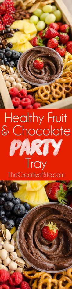 Healthy Fruit & Chocolate Party Tray is a fantastic appetizer for your next get-together. A wholesome mix of fruit, nuts, pretzels and more are served with Boar's Head Dark Chocolate Hum-mus for a selection of elegant and delicious finger food. #ad #AllFlavorNoGuilt