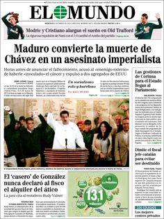 Los Titulares y Portadas de Noticias Destacadas Españolas del 6 de Marzo de 2013 del Diario El Mundo ¿Que le pareció esta Portada de este Diario Español?