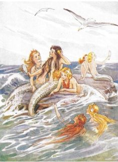 Vintage Mermaid Art Print IllustrationYou can find Vintage mermaid and more on our website. Fantasy Mermaids, Real Mermaids, Mermaids And Mermen, Magical Creatures, Fantasy Creatures, Sea Creatures, Fantasy Kunst, Fantasy Art, Water Fairy