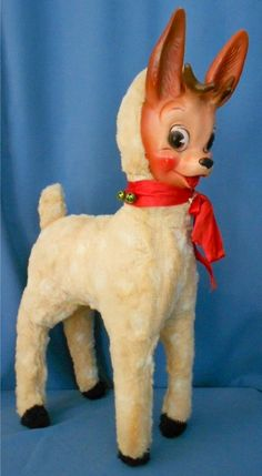Rubber Face CHRISTMAS REINDEER Plush - 1959, made by Columbia.