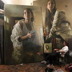 Guillermo Lorca with ENORMOUS paintings in his art studio #workspace #atelier. Note that even the figures within the paintings have outgrown their space. guillermolorca.com
