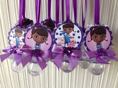 """This beautiful Doc MC Stuffins pacifier necklace are a fancy way to present favors for your Baby Shower. Use these cute baby shower pacifiers as baby shower favors and a """"Don't Say Baby"""" game. The necklace is made of 1/8 satin ribbon. Each pacifier measures 2.75"""" long. bows one side.  Price is per two dozen."""