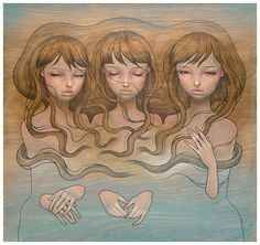 Paintings by Los Angeles based artist Audrey Kawasaki. The themes in Audrey Kawasaki's work are contradictions within themselves. Her work is both Audrey Kawasaki, Jean Shinoda Bolen, Illustrations, Illustration Art, Art Nouveau, Robert Mcginnis, Amazing Paintings, Black Women Art, Pop Surrealism