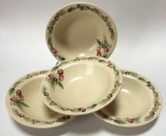 4 Pfaltzgraff Jamberry Rimmed Soup Cereal Bowls Designed By Pat Farrell